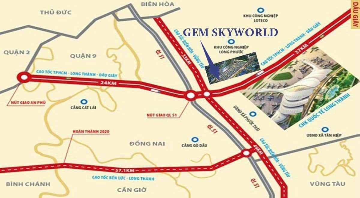 Vị trí dự án Gem  World Long Thành
