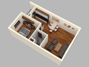 Mẫu thiết kế căn 01 phòng ngủ Thành Công Tower