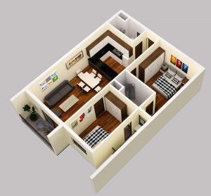 Mẫu thiết kê căn 02 Phòng ngủ Thành Công Tower