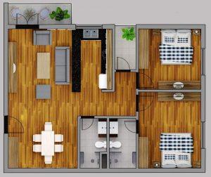 Mẫu thiết kê căn 02 Phòng ngủ chung cư Thành Công Tower
