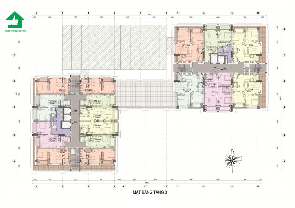 Tầng 3 đến tầng 18 thiết kế chi tiết khu căn hộ ở