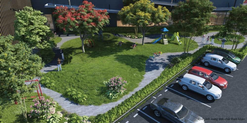 Bãi đậu xe trong dự án Green Park Kim Đính