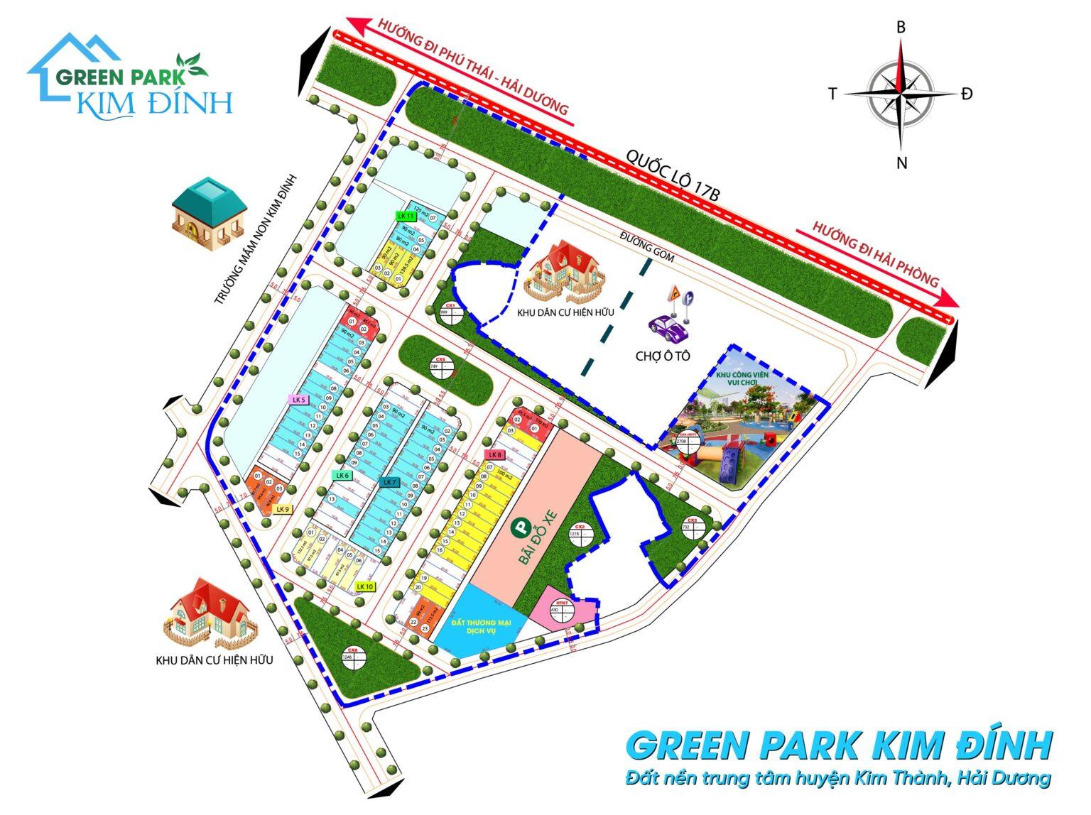 Mặt Bằng chia lô Green Park Kim Đính